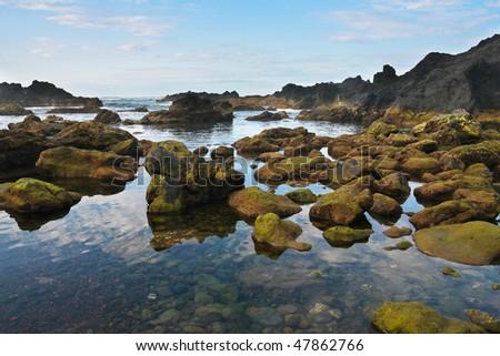 Black Rocky volcanic coastline, Pico island, Azores,  Atlantic ocean - stock photo