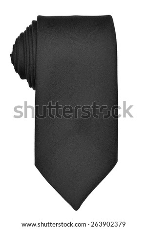 Black rolled up tie isolated on white background, overhead view - stock photo
