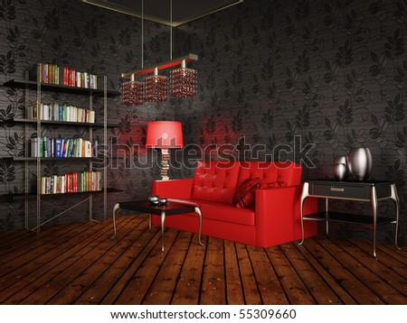 black room with red sofa and night-light - stock photo