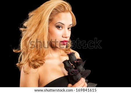 black rose and a beautiful girl  - stock photo