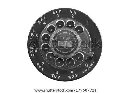 Black rotary phone dial plate isolated on white - stock photo