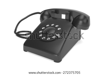 Black rotary phone isolated on white with clipping path - stock photo