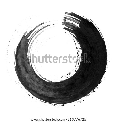 Black round calligraphic brush stroke - stock photo
