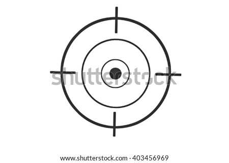 Black round target with crosshair for firing exercises on paper - stock photo