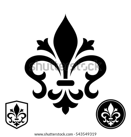 Black royal lily on a white background. Heraldic sign, logo, design element, decoration. Graphic pattern