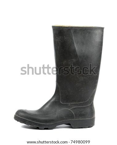 Black rubber boots isolated on white background - stock photo