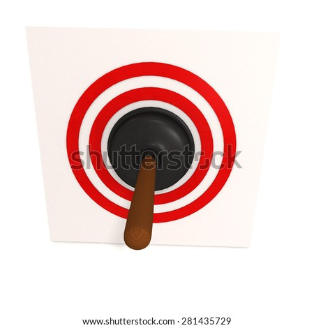 Black rubber plunger in red target - stock photo