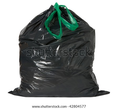 Black rubbish bag isolated on white background - stock photo