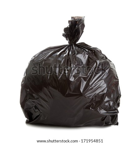 Black Rubbish Bag on white background - stock photo