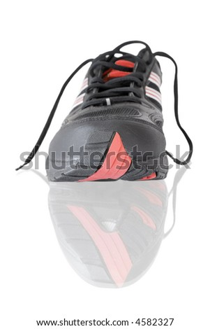 black running shoes isolated on white - stock photo