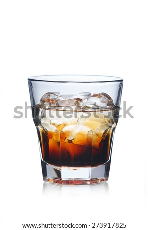 Black Russian alcoholic cocktail in highball glass