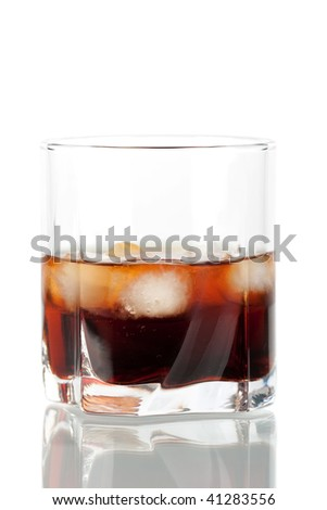 Black Russian cocktail isolated on white background. Ingredients: 5 oz vodka, 2 oz kahlua