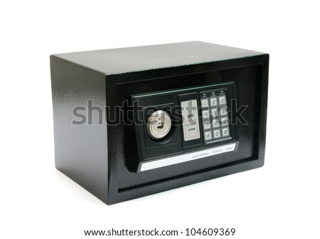 black safe with code lock on a white background