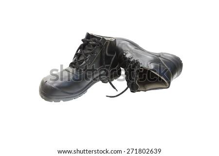 Black Safety Shoe Isolated on White Background - stock photo