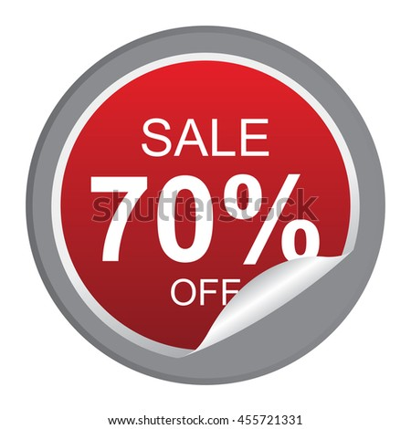 Black Sale 70% Off Promotion Label on Circle Peeling Sticker Isolated on White Background  - stock photo