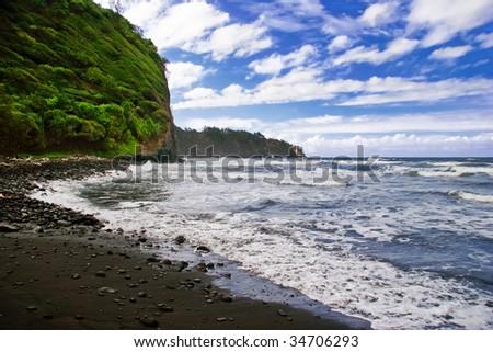 Black sand beach on the Big Island. Hawaii. USA - stock photo
