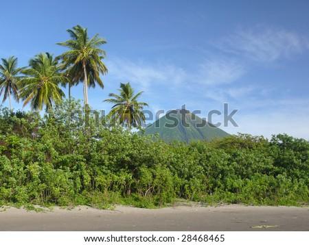 Black sand beach with volcano, Isla de Ometepe, Nicaragua - stock photo