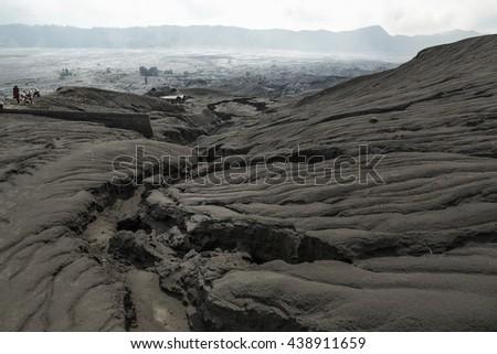 Black sand dune in Mount Bromo Volcano in East Java Indonesia. Bromo Tengger Semeru National Park, East Java, Indonesia - stock photo