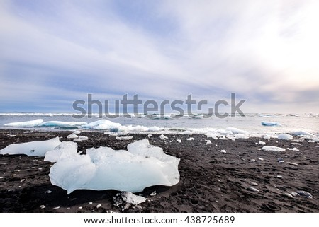black sand landscape of glacier in Iceland