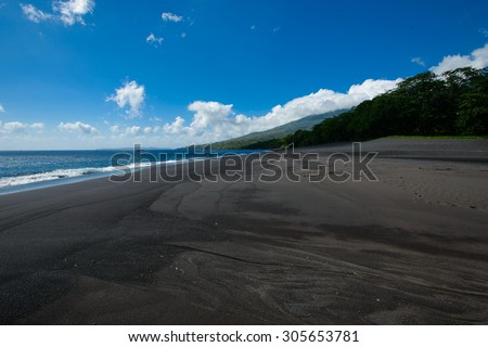 Black sand volcanic beach with tropical green lush and perfect blue sky in the background. Taken in North Sulawesi by Tangkoko National Park, Indonesia