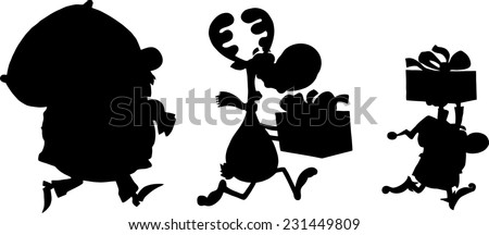 Black Santa Claus,Reindeer And Elf Running In Christmas Night  Silhouettes. Raster Illustration Isolated On White Background  - stock photo