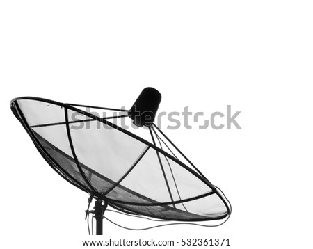 Black satellite dish on the roof isolated