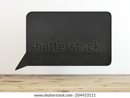 black school board as speech bubble in interior - stock photo