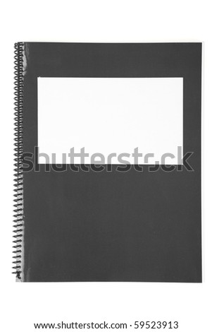 Black school textbook, notebook or manual with white background - stock photo