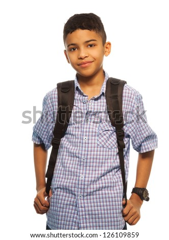 Black schoolboy with backpack - waist up portrait - stock photo