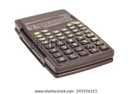 Black scientific calculator isolated on white background  - stock photo