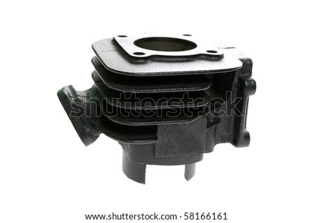 Black scooter cylinder on a white background - stock photo