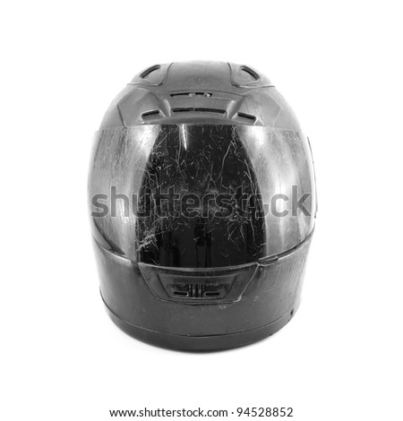 black scratch helmet isolated on white background - stock photo