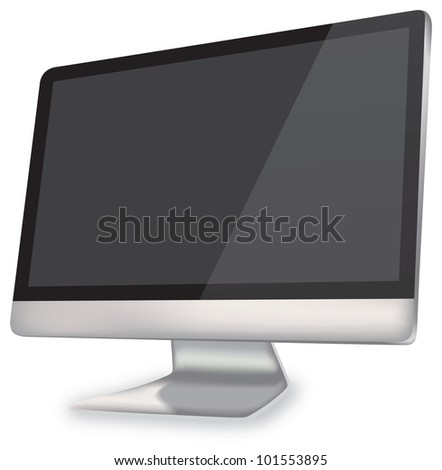 Black screen computer added clipping path - stock photo