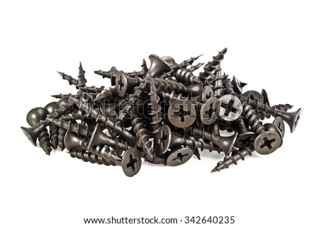 Black screws on white background - stock photo