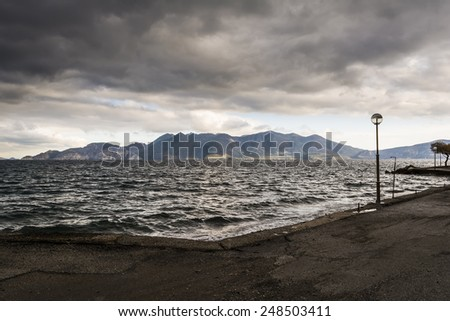 Black sea at stormy seaside - stock photo