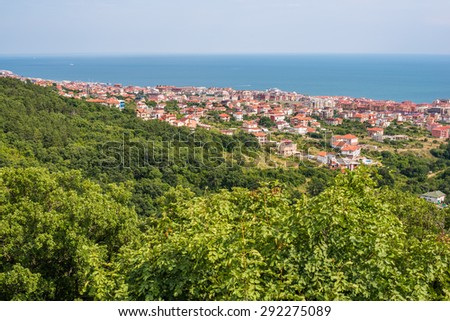 Black Sea coast next to Nesebar, Bulgaria. Aerial touristic landscape of one of the most beautiful historical places in the coast of Black Sea.  - stock photo