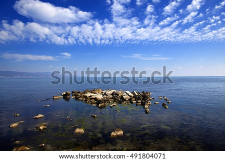 Black sea coast, view from isle Nesebar , Bulgaria