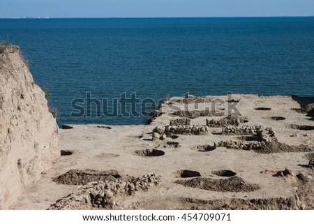 Black Sea in Taman, Russia, The excavations on the Taman peninsula - stock photo