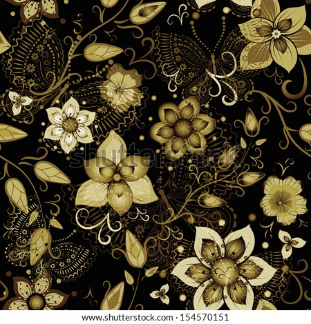 Black seamless floral pattern with gold flowers and transparent butterflies  - stock photo