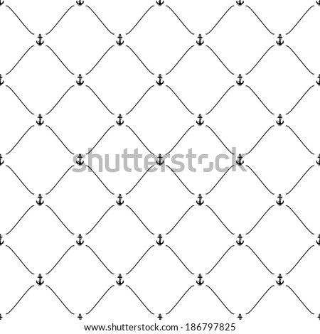 Black seamless pattern with anchor symbol, bitmap copy.
