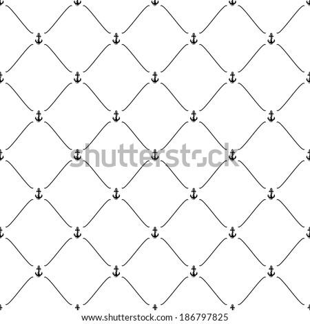Black seamless pattern with anchor symbol, bitmap copy. - stock photo