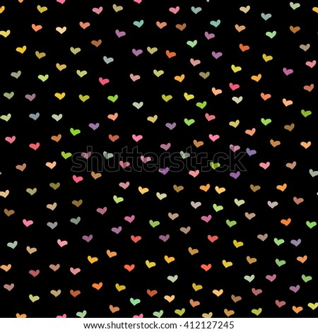 Black seamless pattern with tiny colorful hearts. Abstract repeating. Cute backdrop. Dark background. Template for Valentine's, Mother's Day, wedding, scrapbook, surface textures.  - stock photo