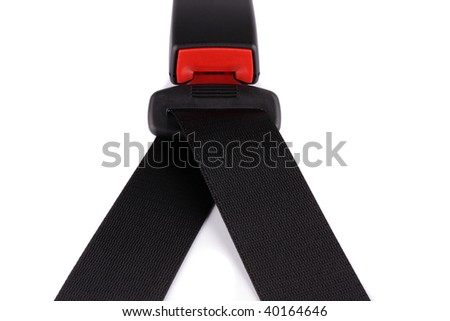 Black seat belt will clasp on the lock isolated on the white background - stock photo