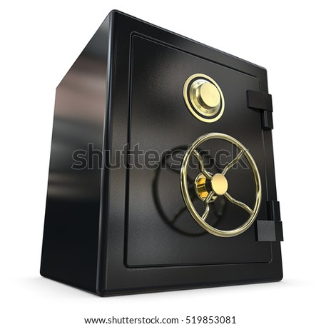 Black Security Safe. 3D render of a closed Security Safe. Black and brass.