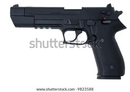 black semi automatic handgun isolated on white - stock photo