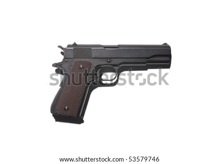 Black semi automatic handgun isolated on white.hard lighting