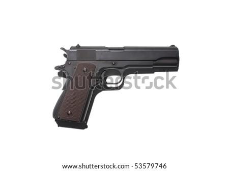 Black semi automatic handgun isolated on white.hard lighting - stock photo