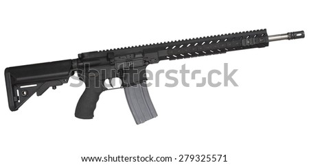 Black semi automatic rifle  that is isolated on a white background - stock photo