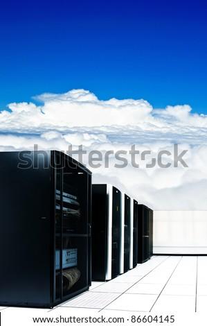 Black server rack and blue sky - stock photo