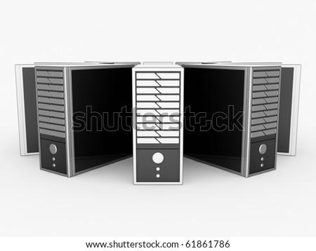 Black Servers - stock photo